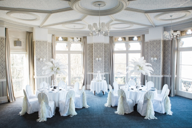 Inside the reception suit, set up for a wedding, at The Duke of Cornwall Hotel, Plymouth