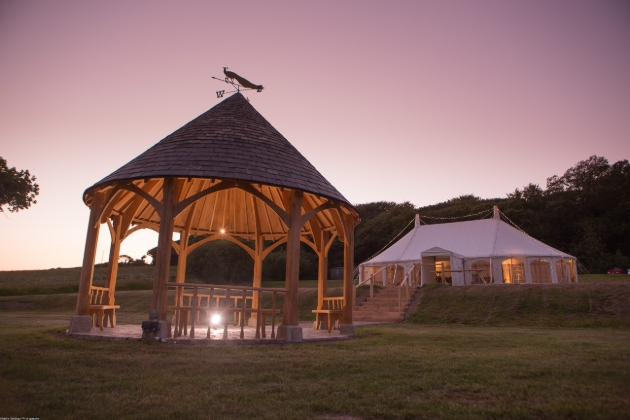 gazebo and marquee at night