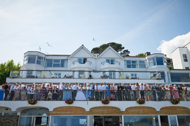 Hannafore Point Hotel, wedding party on balcony looking out to sea