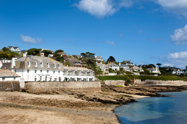 The Idle Rocks, St Mawes hotel on rock face and sea coastline