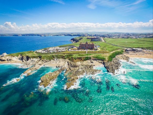 The Headland Cornwall hotel on cliff edge aerial view of hotel cliff and sea