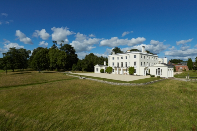 white manor house surround by grass and trees