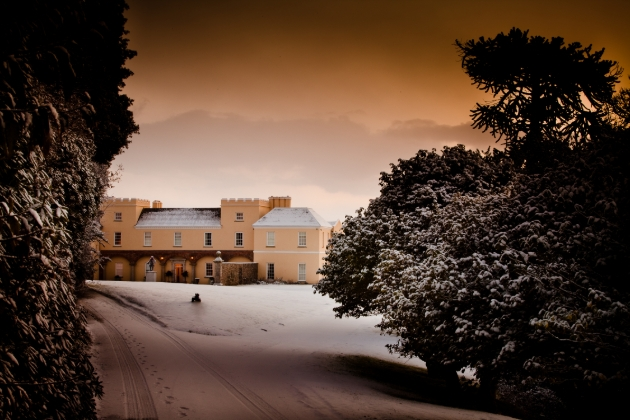 Pentillie Castle & Estate Cornwall in the snow