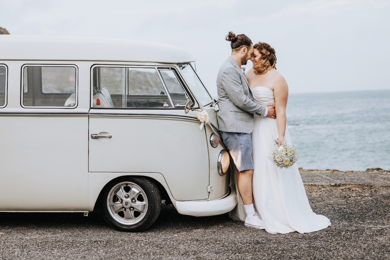 Couple and campervan